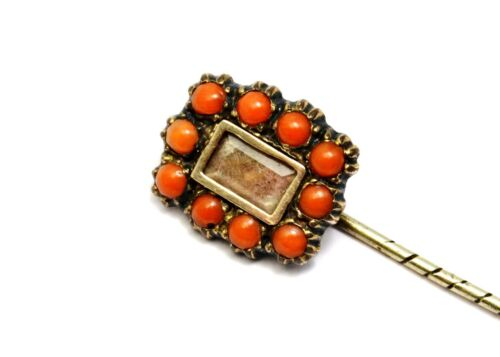 Georgian gold filled coral border hair under glass converted brooch stick pin