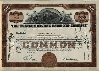 Western Pacific Railroad Company Stock Certificate UP Union