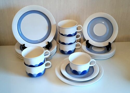 Set of 6 / PUDAS ARCTICA Tea Cups + Saucers + dessert plates  ARABIA  FINLAND