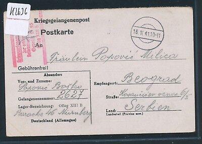 K2636) Kriegsgefangenenpost Karte  OFLAG XIIIB Nürnberg > Serbien 16.10.41
