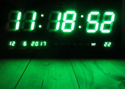 IMC LED Wanduhr mit Zahlen grün rechteckig digital Uhr Datum Temperatur Multi S