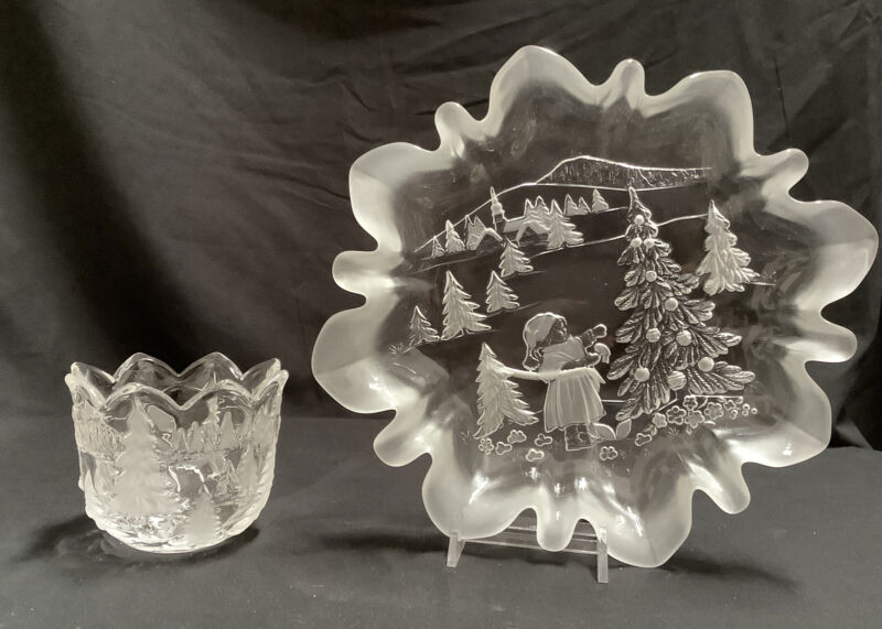 2 Pc Mikasa Holiday Glassware - Plate & Small Bowl - Girl, Tree, House & Church