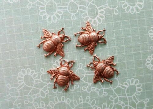 XSmall Brass Bee Stampings x 4 - 8988FFA