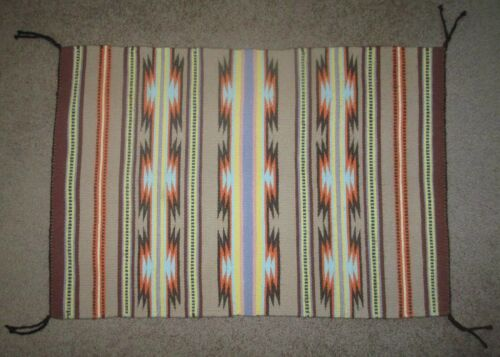 "Fine Quality Banded Crystal Navajo Rug / Weaving 33"" x 22"""