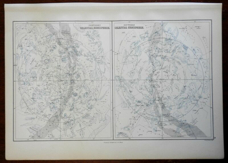 Northern & Southern Night Sky Constellations Zodiac 1876 A. & C. Black map