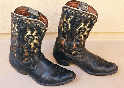 VTG 40s 50S ACME PARROT HEAD INLAY COWBOY BOOTS RED WHITE BLUE PATRIOTIC WESTERN