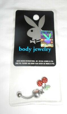 Playboy Red Eye Crystal Bunny Belly Ring Stainless Steel