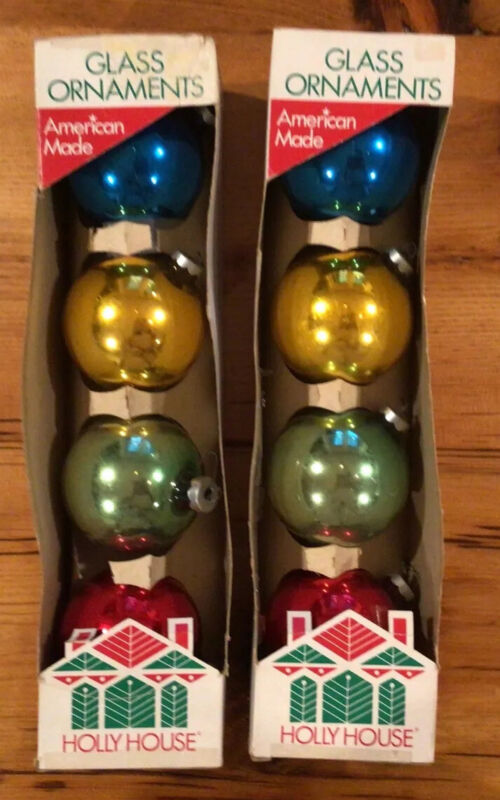 Vintage 8 Jumbo Sized Glass Holly House Christmas Ornaments in Original Boxes