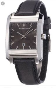 Burberry BU1571 Swiss Square Leather Band Men's Watch