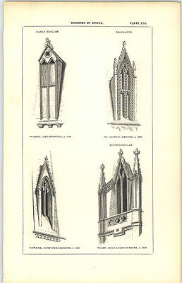 1850 Engraving Windows Of Spires Witney Oxon Newark St Mary's Oxford Wilby