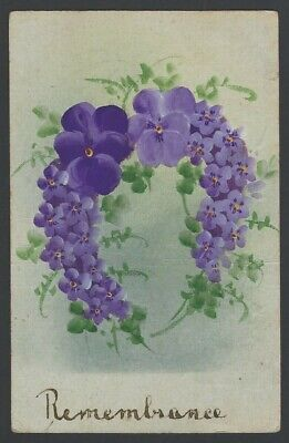 GB 1913 hand painted Remembrance postcard