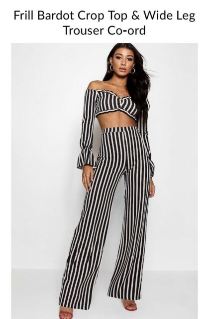 """cdf0c209c6b """"Boohoo"""" frill Bardot crop top and trouser co-ord   Other Women's ..."""
