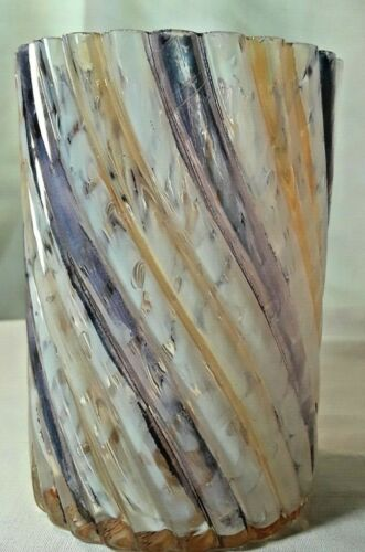 "RARE ANTIQUE 3 DIMENSIONAL SWIRL SPACKLE GLASS VICTORIAN TUMBLER 3 3/4""TALL"
