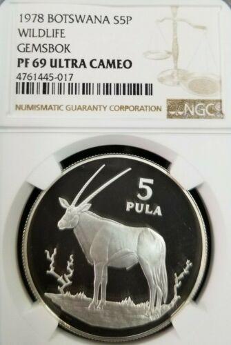 1978 BOTSWANA SILVER 5 PULA S5P WILDLIFE GEMSBOK NGC PF 69 ULTRA CAMEO TOP POP