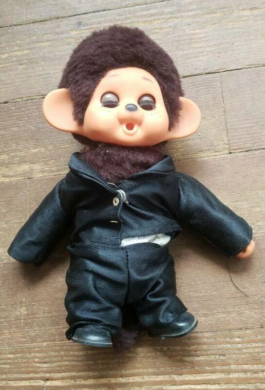 """Vintage Monchichi Monkey Plush Doll Tuxedo 8"""" sleepy eyes"""