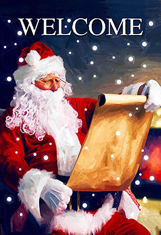 Morigins Welcome Santa Decor Christmas Snowflake Double Side