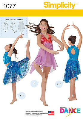 SIMPLICITY SEWING PATTERN 1077 GIRLS KNIT DANCEWEAR DANCE BALLET BALLROOM 7-16