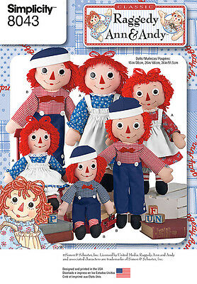 """Simplicity 8043 Sewing Pattern Raggedy Ann & Andy Doll and Clothes 15"""",26"""",36"""""""