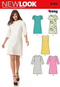 New-Look-6145-Sewing-Pattern-60s-Style-Shift-Dress-Neck-Options-Ladies-Size-8-18