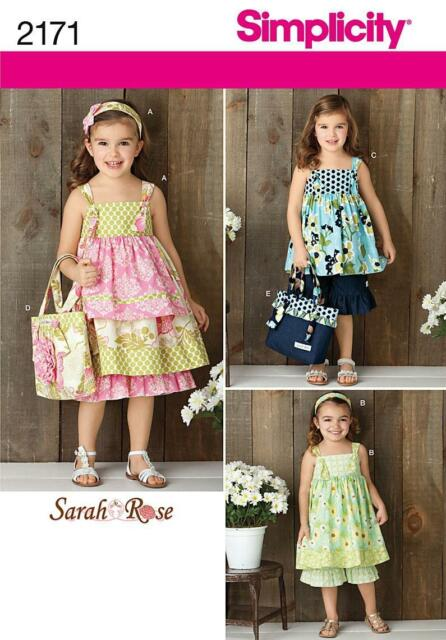 Simplicity SEWING PATTERN 2171 Childs Dress,Top,Pants,Bag,Hair Accessory