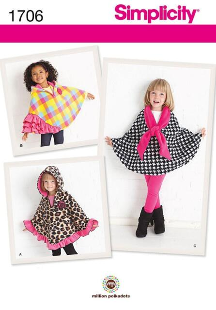 Simplicity SEWING PATTERN 1706 Childs Capes Age 3-4, 5-6, 7-8