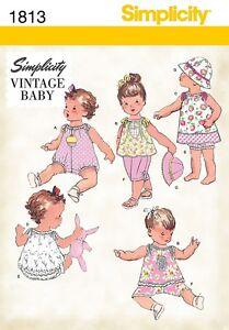 SIMPLICITY SEWING PATTERN VINTAGE BABY BABIES ROMPER DRESS TOP PANTS HAT 1813  *