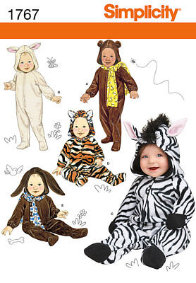 Simplicity Pattern 1767 Baby Infant Halloween Costume Bunny Tiger Zebra SZ - Baby Halloween Costume Sewing Patterns