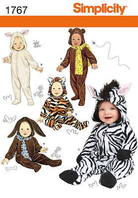 Simplicity Pattern 1767 Baby Infant Halloween Costume Bunny Tiger Zebra SZ XS-L - Simplicity Infant Halloween Costume Patterns