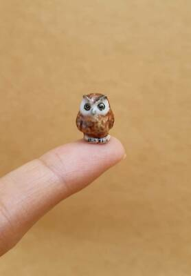 - Tiny Owl Bird Ceramic Figurine Hand Painted Miniature Birds Statue Collectible