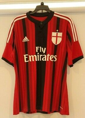 UNIQUE Button top Adidas Emirates AC MILAN Soccer Futbol Climacool Large Jersey