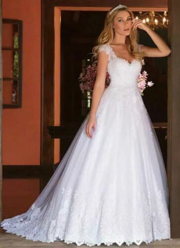 New white ivory lace Tailed Wedding dress Bridal Gown custom size 2 4 6 8+++