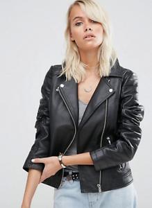 NEW Real Leather ASOS Black Ultimate Biker Jacket - UK/AU 10 Sydney City Inner Sydney Preview