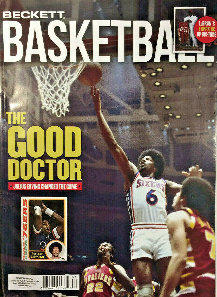 New August 2020 Beckett Basketball Card Price Guide Magazine With Julius Erving