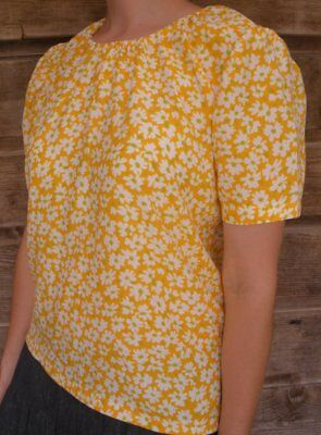 Ladies modest blouse rayon gold yellow floral size XL 18 20 for sale  Shipping to India