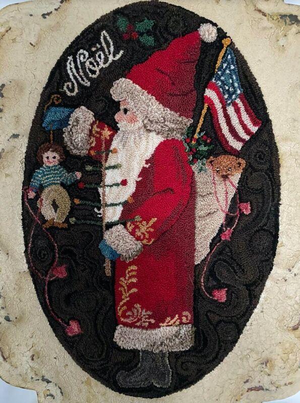Gaint Primitive Punch Needle, Christmas Santa Tile