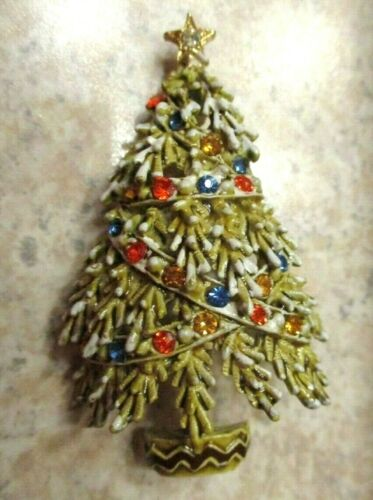 Vintage Christmas Pin Brooch Colorful Rhinestones Snow Gold Tone Tree Signed ART