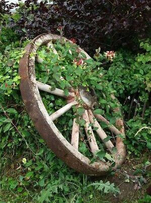 Antique Oak Cart Wheel Original Paintwork Heavy 127 cm Wide Wooden