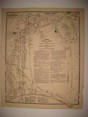 ANTIQUE 1870 WEST GARDNER & CENTER WORCESTER COUNTY MASSACHUSETTS MAP SUPERBCOND