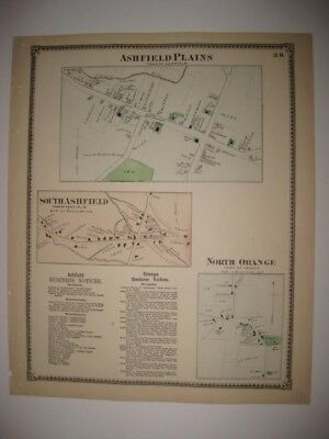ANTIQUE 1871 ASHFIELD PLAINS ORANGE FRANKLIN COUNTY MASSACHUSETTS HANDCOLORD MAP
