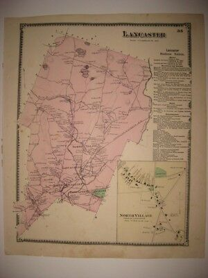 ANTIQUE 1870 LANCASTER NORTH VILLAGE WORCESTER COUNTY MASSACHUSETTS MAP SUPERB N