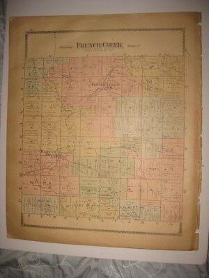 ANTIQUE 1881 FRENCH CREEK KENNEDY MARVIN CHAUTAUQUA COUNTY NEW YORK HANDCOLR MAP