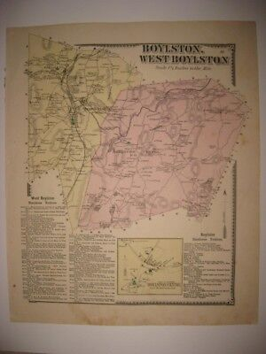 ANTIQUE 1870 WEST & BOYLSTON CENTER OAKDALE WORCESTER COUNTY MASSACHUSETTS MAP