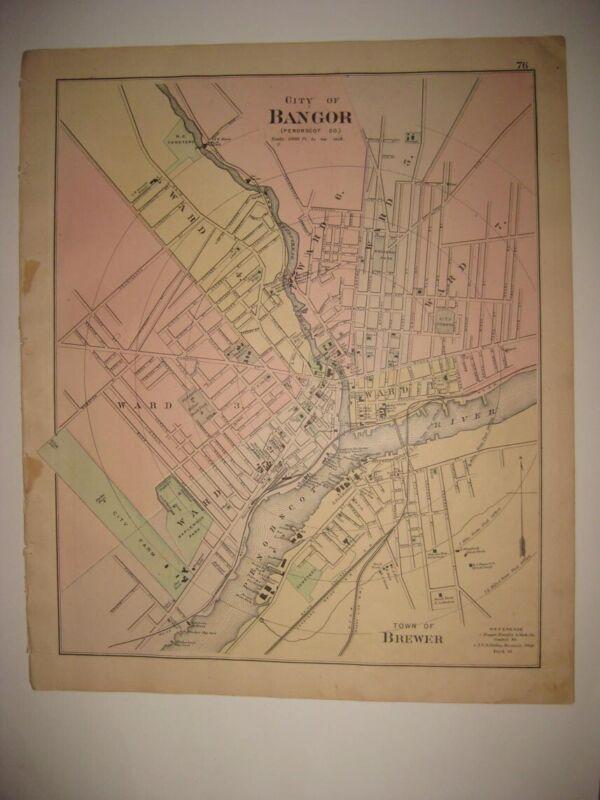 ANTIQUE 1887 BANGOR BREWER ELLSWORTH MAINE HANDCOLORED MAP SUPERB RARE FINE NR