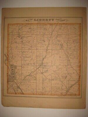 ANTIQUE 1874 LIBERTY TOWNSHIP & GIRARD TRUMBULL COUNTY OHIO HANDCOLORED MAP (Liberty County Ohio)