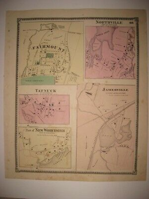 ANTIQUE 1870 FAIRMOUNT JAMESVILLE TATNUCK WORCESTER COUNTY MASSACHUSETTS MAP NR