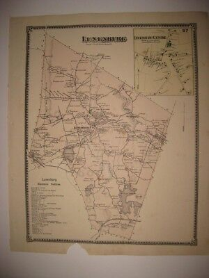 ANTIQUE 1870 LUNENBURG & CENTER WORCESTER COUNTY MASSACHUSETTS HANDCOLORED MAP
