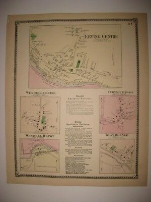 ANTIQUE 1871 ERVING WENDELL ORANGE FURNACE FRANKLIN COUNTY MASSACHUSETTS MAP NR