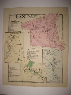 ANTIQUE 1870 PAXTON HOLDEN EAGLEVILLE WORCESTER COUNTY MASSACHUSETTS HANDCLR MAP