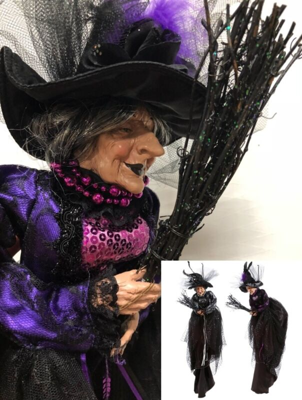 """RAZ Imports 32"""" Flying Witches Set/2 Broom Purple Black Gray Lace Halloween NEW!"""