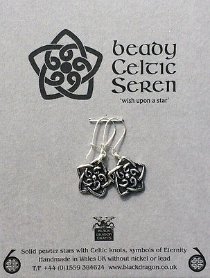Welsh Pewter  stars with Celtic Knots and Sterling Silver Earwires